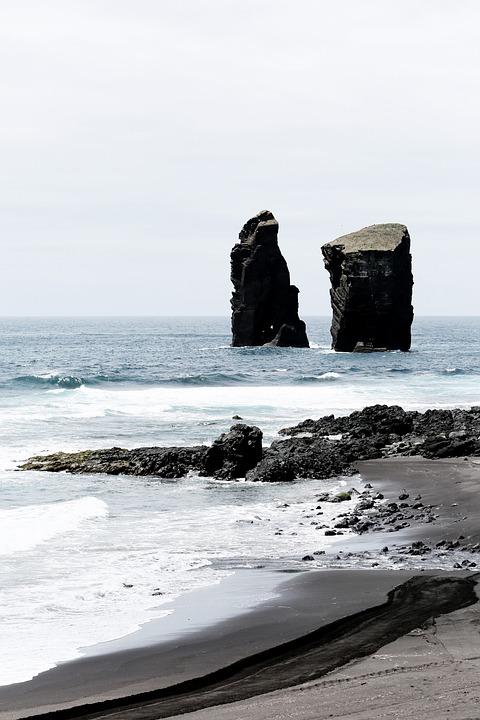Beach, Monochrome, Ocean, Outdoors, Rock Formation