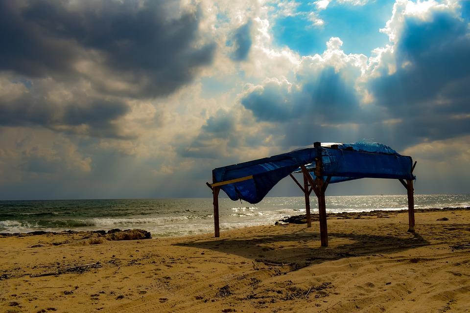 Beach, Sky, Clouds, Overcast, Stall, Autumn, Stormy