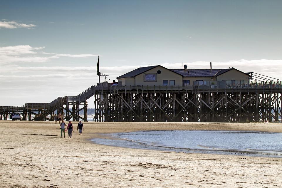 Pile Construction, Beach, St Peter, Ording, Cafe