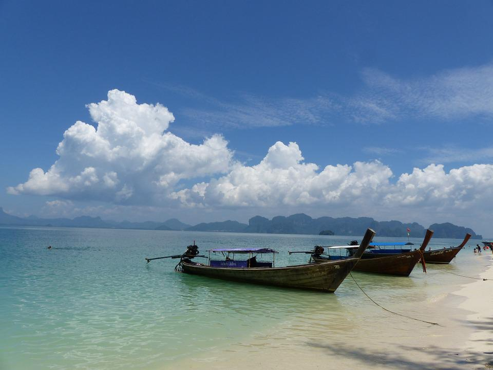 Boats, Beach Poda, Krabi, Thailand, Long Boat Trail