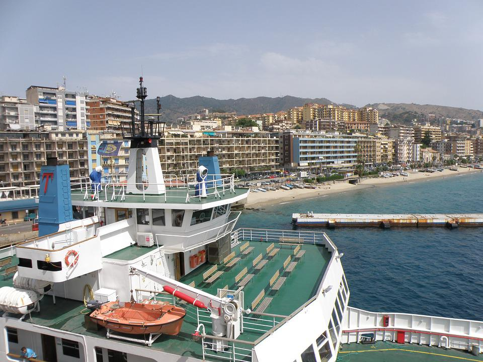 Port, Sicily, Ship, Ferry, City, Hotel, Beach