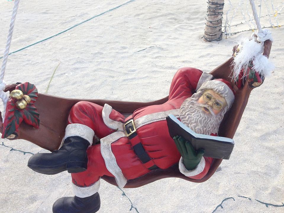 Santa Claus, Read, Book, Beach, Fig