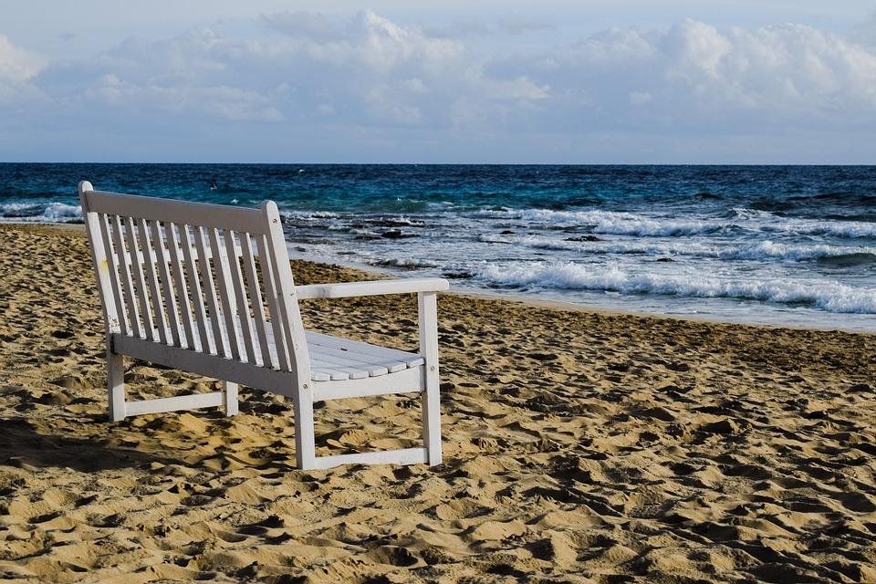 Bench, White, Beach, Sea, Relax