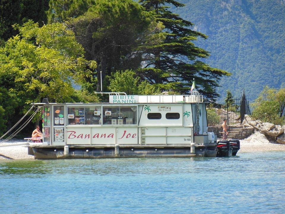 Boat, Kiosk, Restaurant, Banana Joe, Garda, Ship, Beach