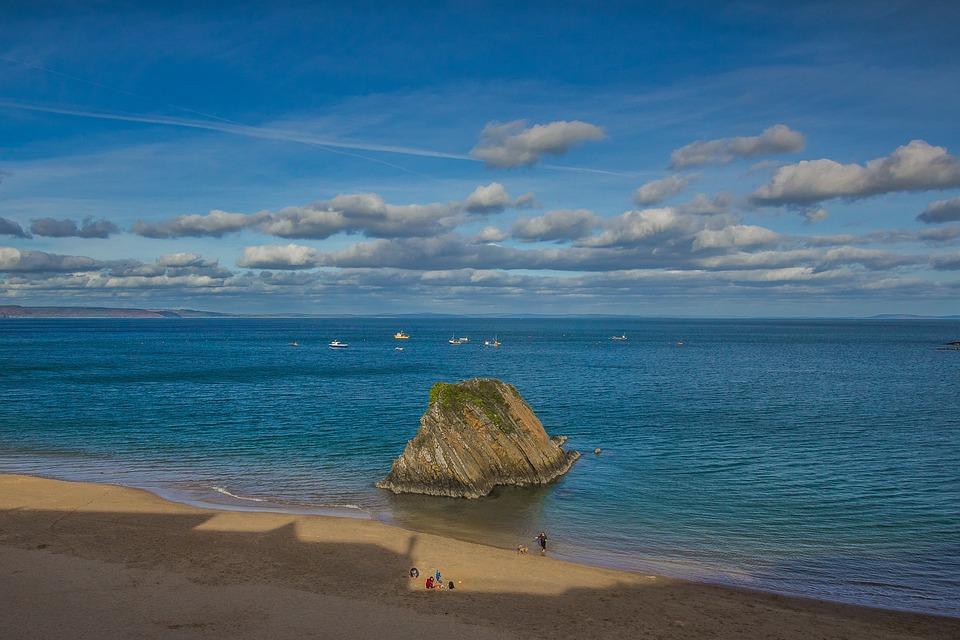 Coast, Rock, Beach, Ocean, Wales, England