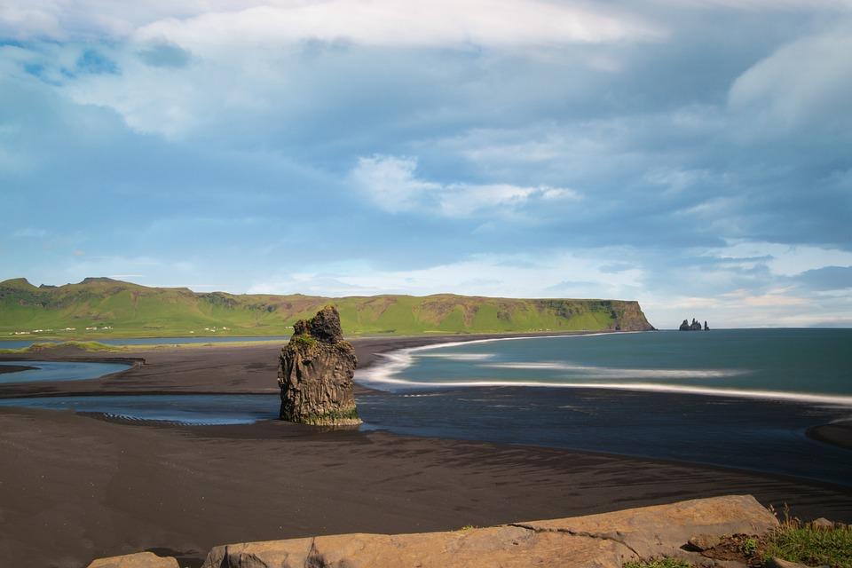Beach, Volcanic Sand, Sand, Rock, Black, Summer