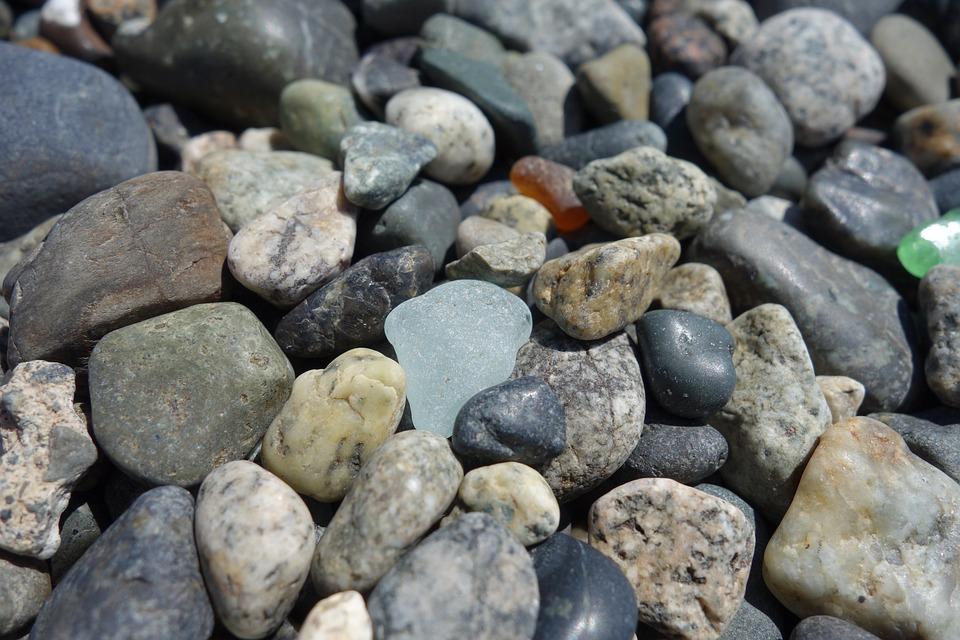 Sea Glass, Rocks, Beach, Sea