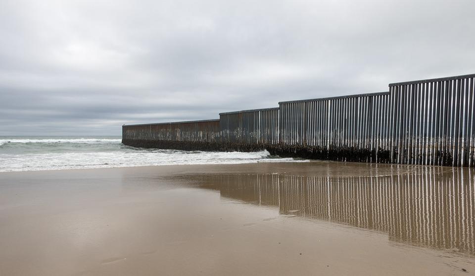 Beach, Wall, Border, San Diego