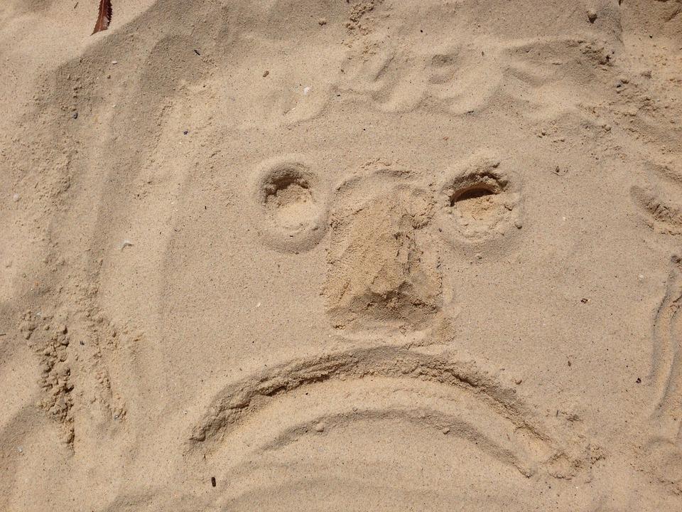 Face, Sad, Bad Mood, Beach, Smiley, Emoticon, Sand