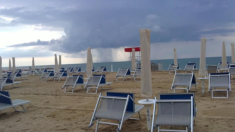 Sand, Beach, Winter, Umbrellas, Chairs