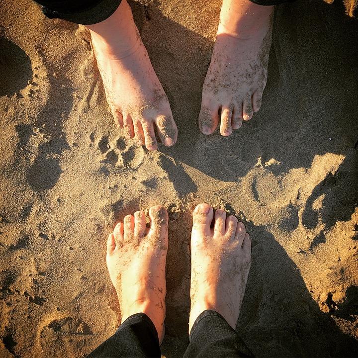 Beach, Feet, Sand