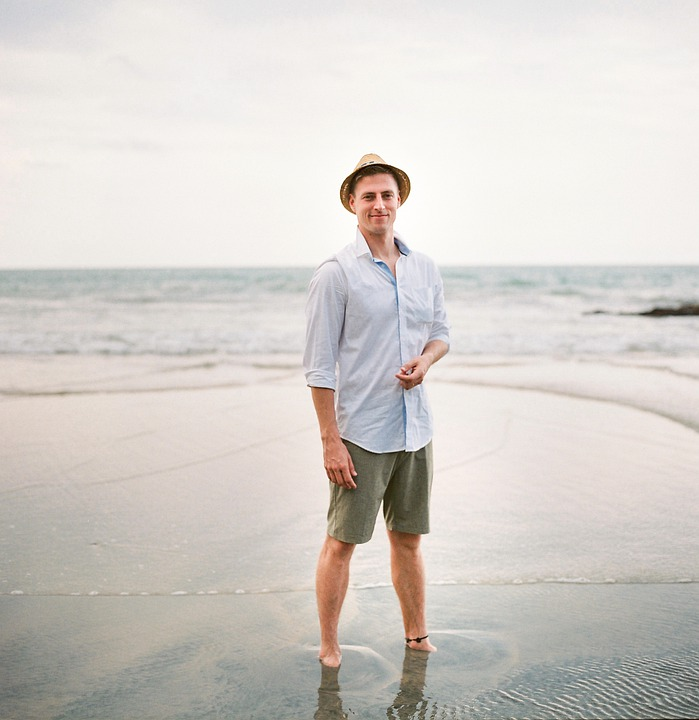 Man, Beach, Hat, Ocean, Happy, Sea, Water, Sand