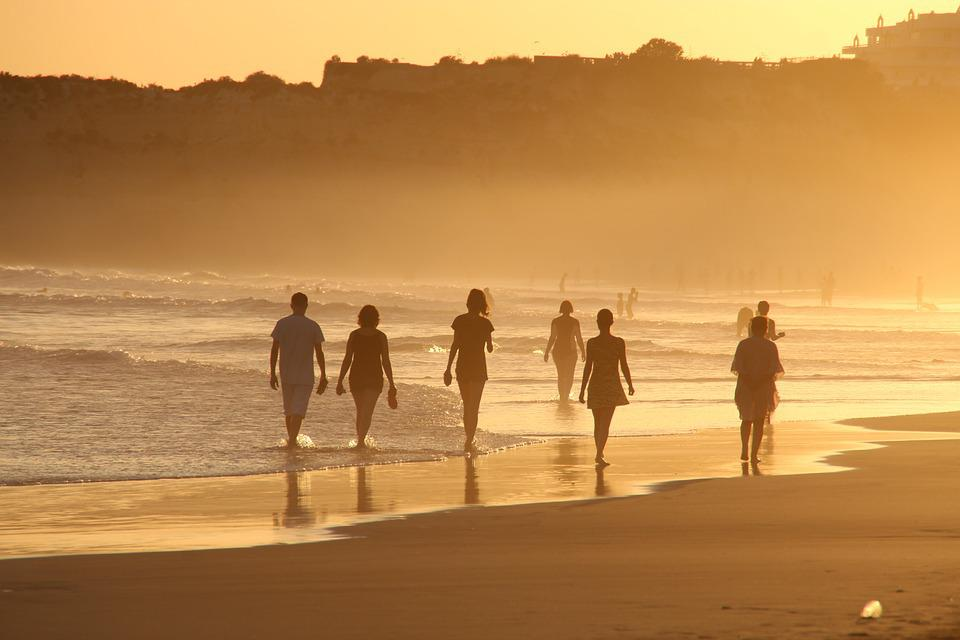 Beach, Human, Sunset, Portugal, Sand, Sun, Water, Sea