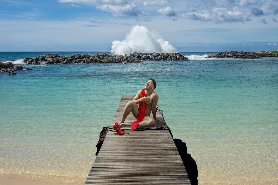 Beach, Man, Landscape, Shoes, Scarf, Sky, Water