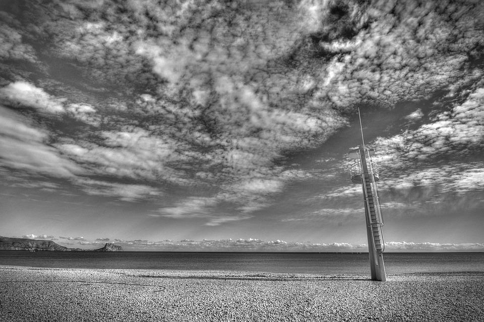 Beach, Sea, Sand, Landscape, Black And White