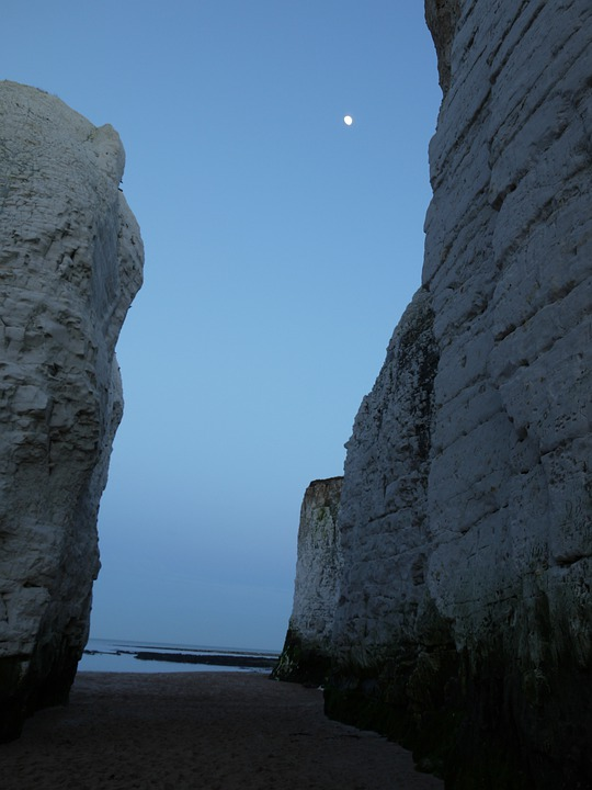 Chalky, Cliffs, Night, Beach, Moon, Sea