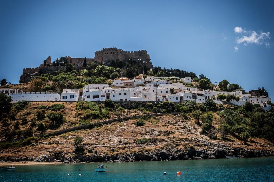 Captain's Houses, Lindos, Rhodes, Sea, Beach, Greece