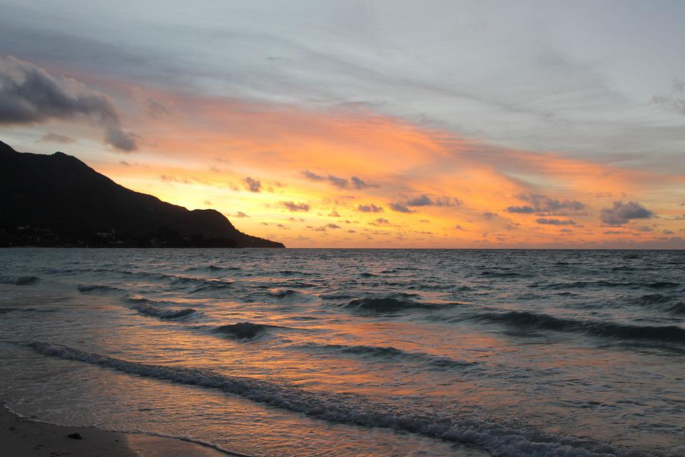 Seychelles, Sunset, Ocean, Beach, Sea