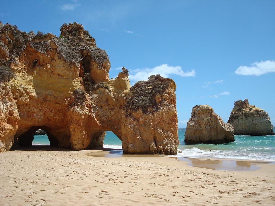 Portugal, Algarve, Sea, Rocks, Coast, Beach