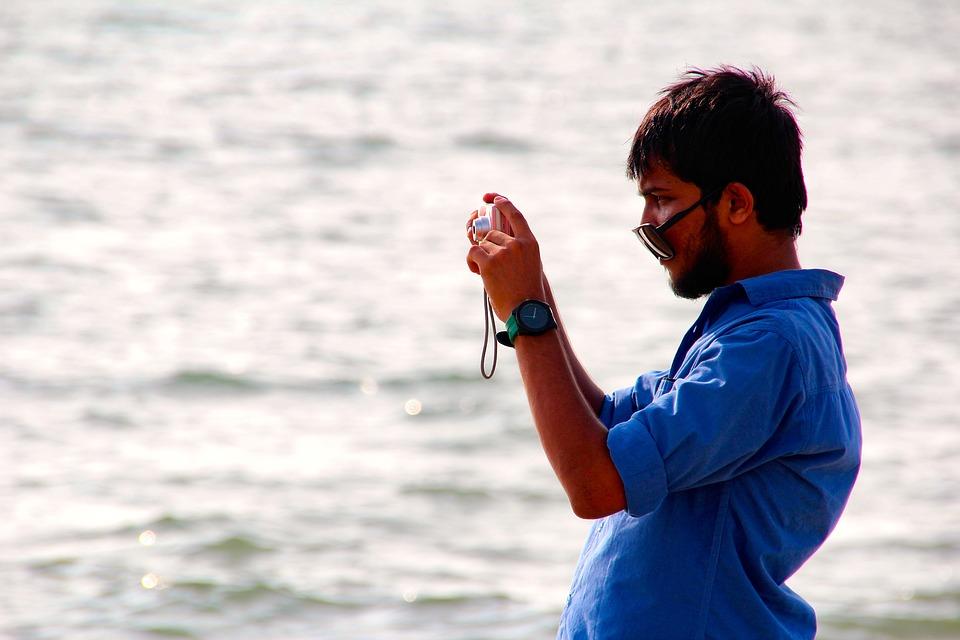 Photograph, Man, Beach, Water, Sea, Camera, Sunglasses
