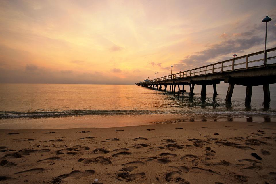 Beach, Pier, Sunrise, Ocean, Sea, Travel, Water, Summer