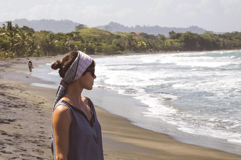 Beach, Woman, Girl, Scarf, Top, Ocean, Sea, Caribbean