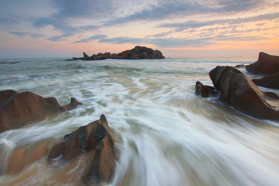 Motion Water, Sunrise, Landscape, Seascape, Beach