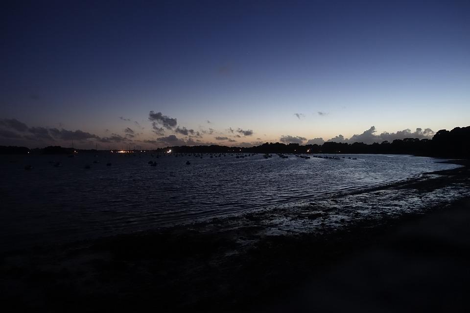 Beach, Sea, Night, Boats, Seaside, Gulf Of Arradon