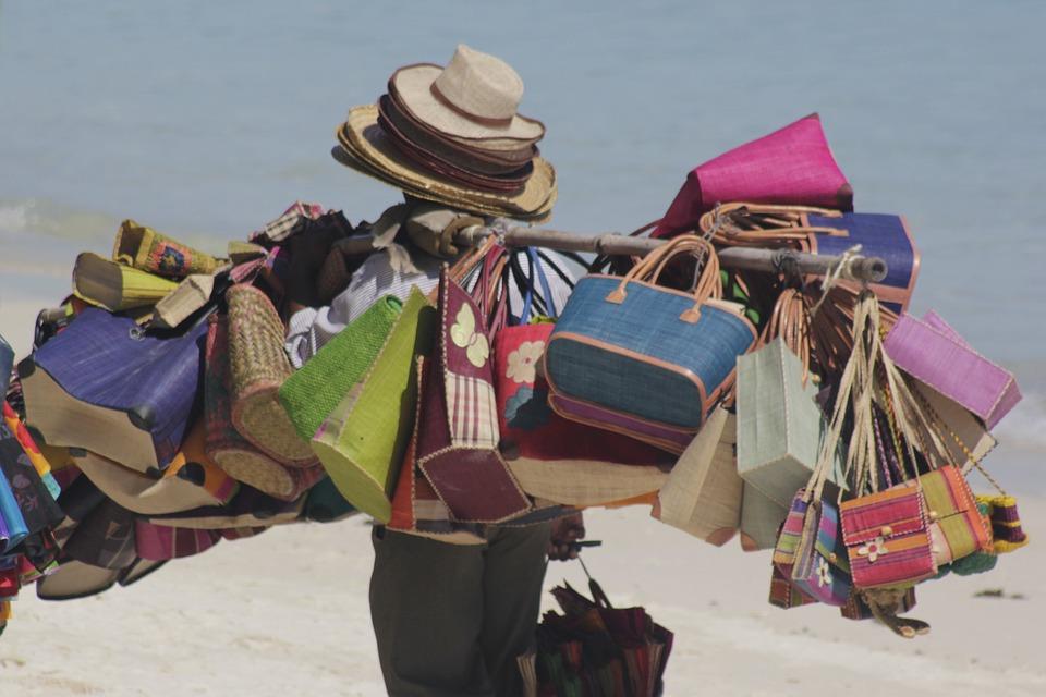 Beach Seller, Bags, Colourful, Beach, Hats, Mauritius