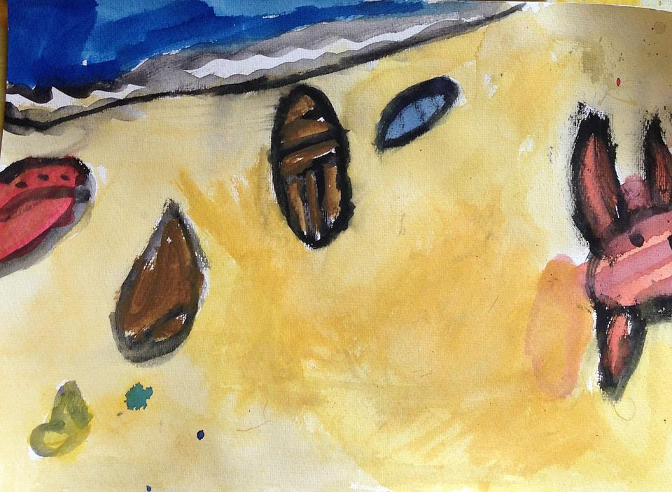 Watercolor, Beach, Shells, Drawing, Kids