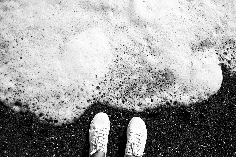 Wave, Shoes, Looking Down, Sand, Foot, Sea, Beach