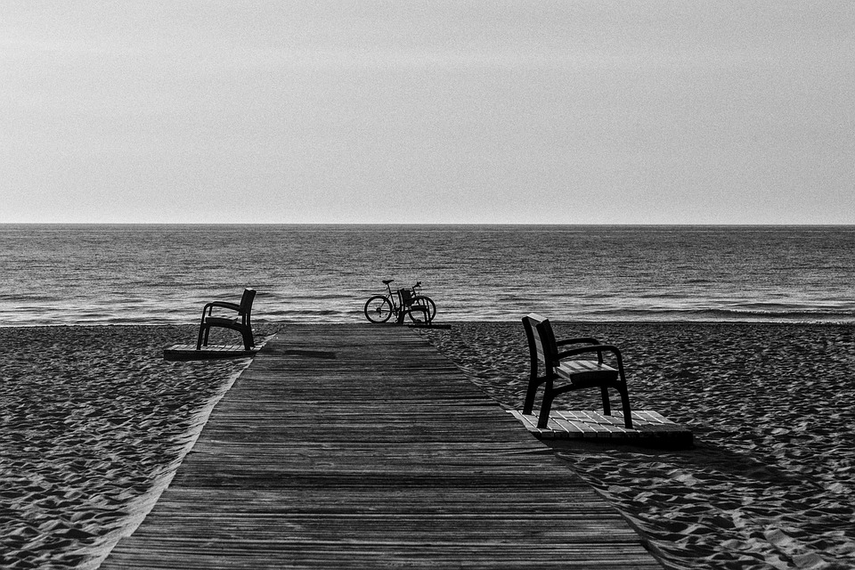 Beach, Benches, Bicycle, Bike, Ocean, Sand, Sea, Shore