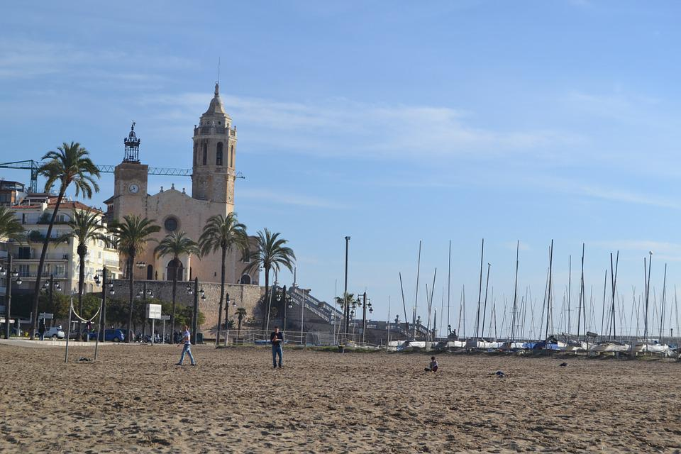 Barcelona, Sitges, Beach, Church, Spain