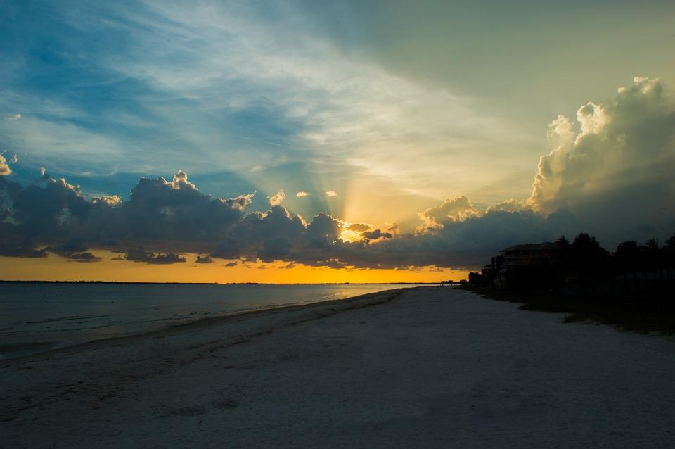 Florida, Sunset, Sun Rays, Beach, Sky, Sand, Gulf