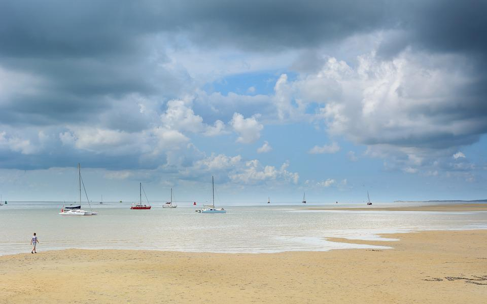 Beach, Clouds, Sand, Sky, Ships, Squill