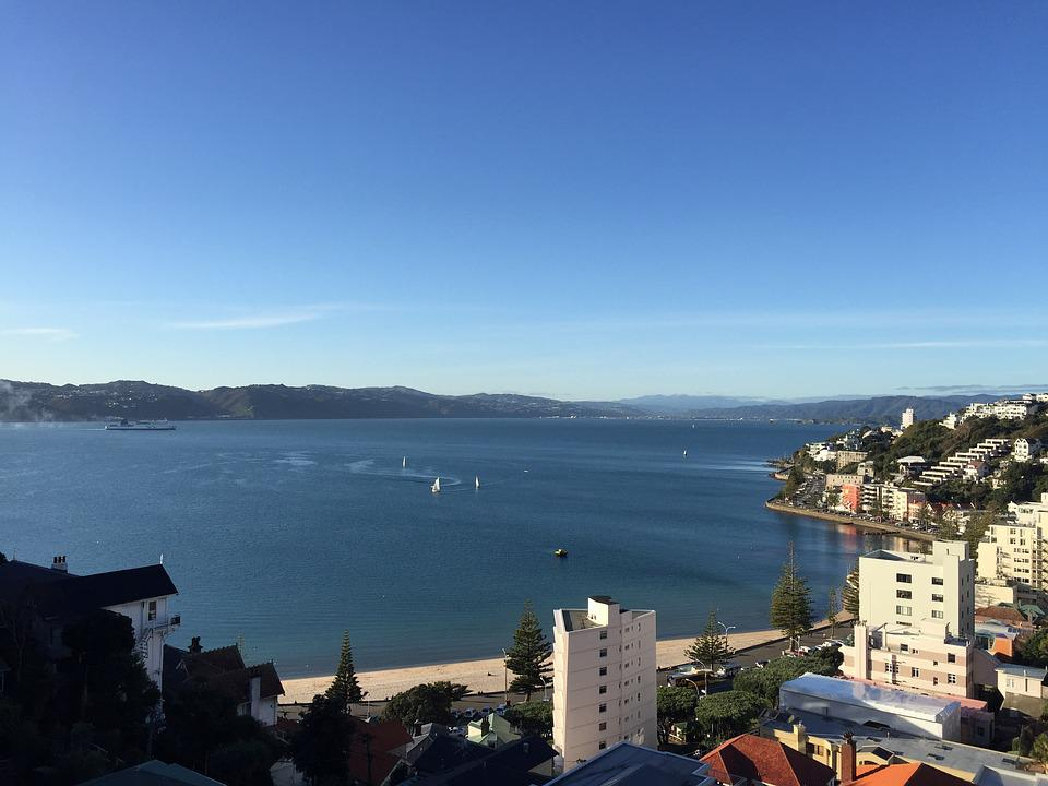 Wellington, Harbour, Sky, Sea, Waterfront, Yacht, Beach
