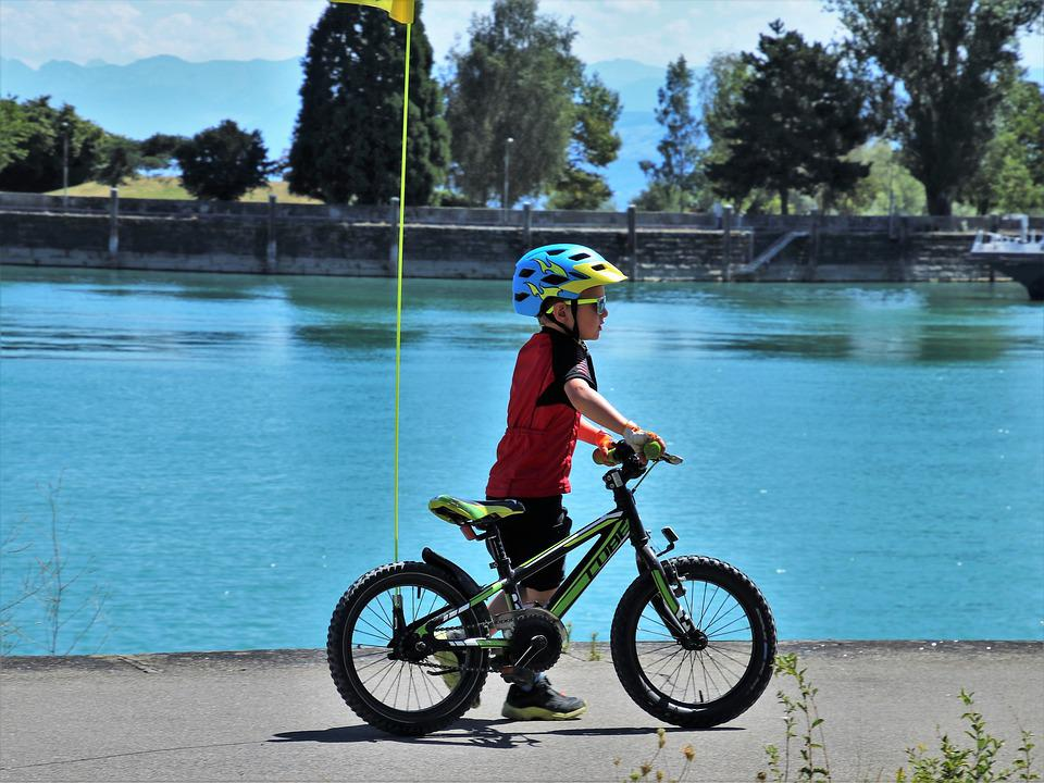 Bike, Childhood, Boy, Child, Beach, Water, Small