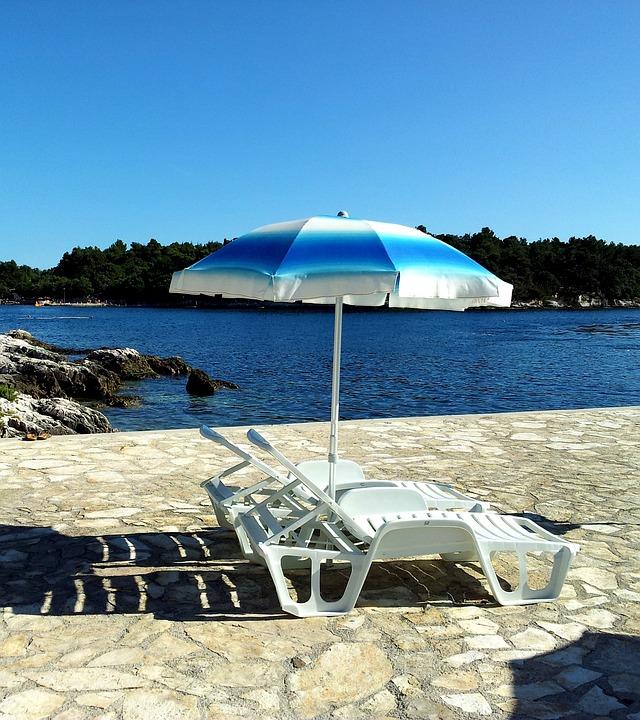 Beach Umbrella, Beach, Chairs, Summer, Holiday, Sea