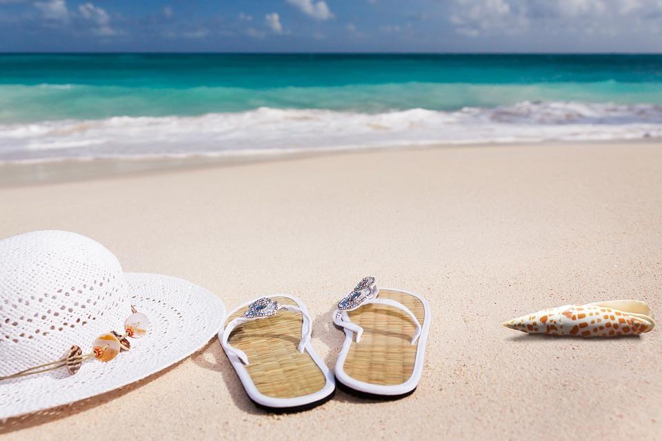 Beach, Sand, Sea, Coast, Summer, Sun Hat, Flip Flop