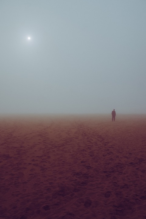 Beach, Haze, Human, Scenic, Mood, Traces, Sun