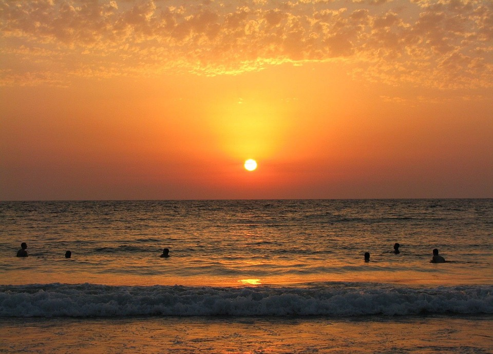 Sunset, Sea, Beach, People, Swim, Ocean, Sun, Sky