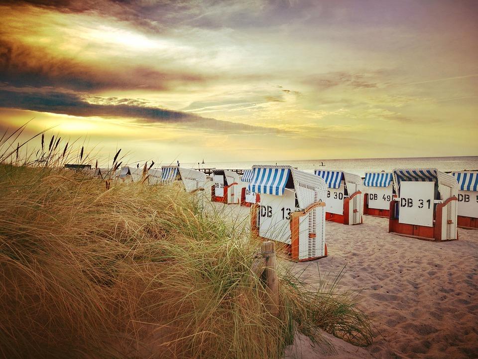 Beach, Horizontal, Sea, Sun, Sky, Sunset, Abendstimmung