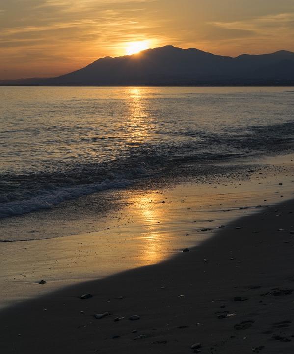 Sunset, Marbella, Sea, Sun, Beach
