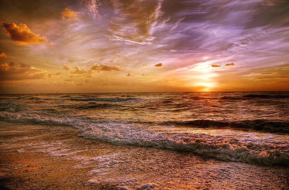 Sun, Beach, Sea, Sunset, Back Light, Romance, Twilight