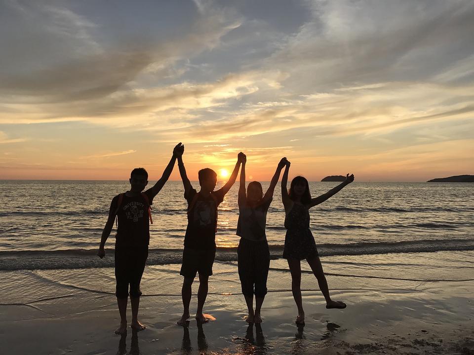 Beach, Hand, Sunset