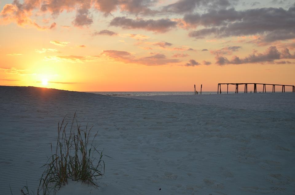 Beach, Pier, Sand, Sunset, Panama City Beach, Florida