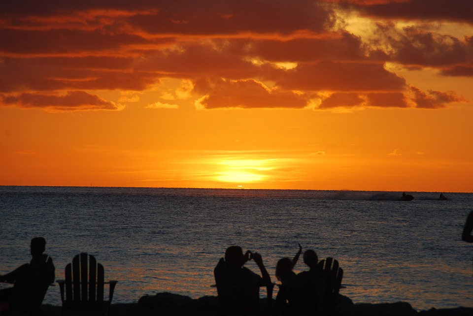 Sunset, Beach, People Watching