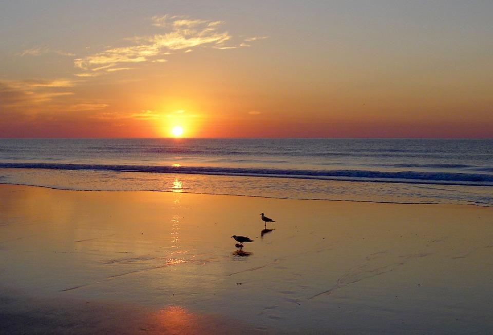 Sunset, Dawn, Water, Dusk, Sun, Beach, Reflection