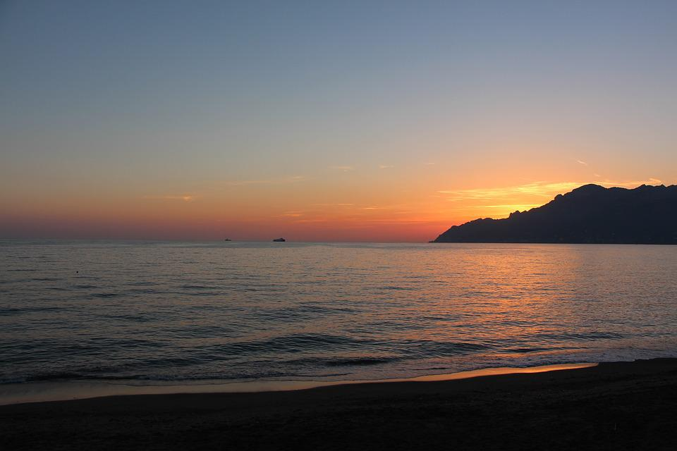 Sunset, Amalfi Coast, Salerno, Beach, Sea, Tyrrhenian