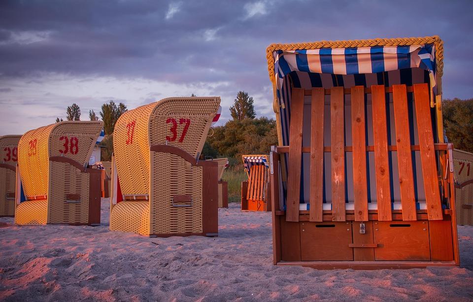 Sunset, Beach Chair, Clouds, Beach, Sea, North Sea
